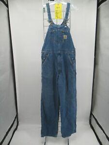 I8326 VTG Carhartt Denim Bib Overalls Size 34 x 32