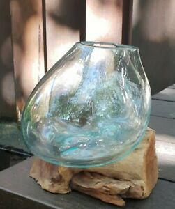 Medium flower/plant bowl molten glass on wood - handmade