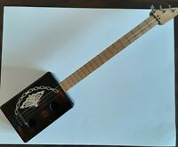 """CIGAR BOX Guitar 3 String Acoustic Solid Wood Butterfly Handmade 30"""" Long"""