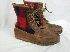 RARE Polo Ralph Lauren Chukka Moccasin Gum Bottom Boots Leather Wool Plaid 9.5