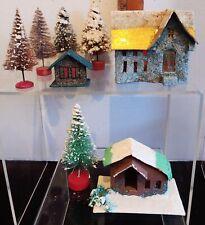 Vintage Christmas Village Cardboard Houses Mica Glitter Bottle Brush Trees