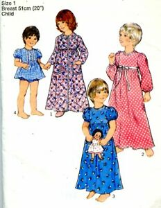 Uncut Sewing Pattern Toddler girls Dressing Gown Nightie panties Size 1. 1979