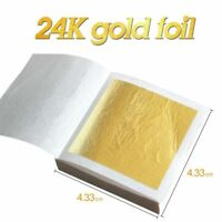 20 Edible Pure 24K Gold Leaf Foil Sheets For Art Food Facial Decor Gilding Craft