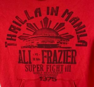 Roots Of Fight Muhammad Ali Frazier Thrilla In Manila Boxing Hoodie Size L1975