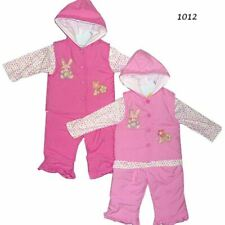 Baby Girl Padded Bunny embroidery 3 PCS Suit Set