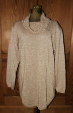 Sz L Vintage Cowl Neck Pull-over Big Sweater Fall Gold Sparkle Jeanne Pierre
