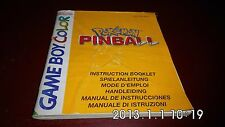 NOTICE LIVRET MANUEL NINTENDO GAME BOY COLOR- POKEMON PINBALL
