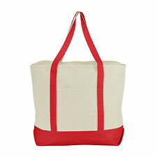 LARGE Zippered Boat Tote Canvas Reusable Grocery Shopping Tote Totes Bag 22""