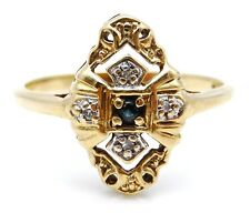 VICTORIAN Solid 10k Yellow Gold / Diamonds Ladies Ring Size 8.75