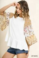Umgee White Floral Paisley Print Waffle Knit Top Size S M L + Plus Size XL 1X 2X