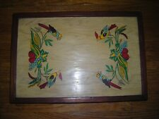 Vintage Tv Table/lap tray, hand painted, birds w/fruit designs, very old, wood,