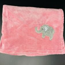 Pink Baby Blanket Gray Embroidered Elephant Chevron Ear Fleece Security Lovey
