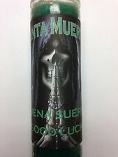 HOLY DEATH 7 DAY CANDLE IN GLASS PREP FOR GOOD LUCK BUENA SUERTE SANTA MUERTE