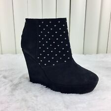 The Kooples Suede Ankle Booties Boots Studded 8 Black Silver Wedge Heel Womens