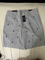Polo Ralph Lauren Blue Pinstripe Classic Fit 9 Chino Shorts Multi Ponies Size 33