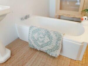Dolls House Bath Mat, Duck Egg Blue 1:12th Scale, Miniature Bath Mat