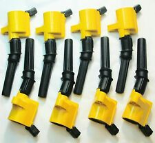 ALL 8 HEAVY DUTY YELLLOW TOP IGNITION COILS REF# FD503 DG508 DG491 NEW