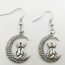 New 1 pair Free shipping Fashion Antique silver Jewelry cat on the moon earring.