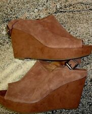 LUCKY BRAND BROWN SUEDE PLATFORM WEDGES HEELS SHOES sz 10 M