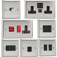 Varilight Mirror Chrome Standard Plate Switches, Sockets, etc with Black Inserts
