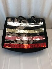 VICTORIA'S SECRET STRIPED SEQUENCE TOTE BAG BLACK PINK SILVER SPARKLY