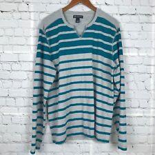 INC International Concepts Long Sleeve Knit Top Cotton Striped Gray Green Sz L