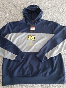 Nike Jordan Michigan Wolverines Hoodie Navy NCAA CV5364-419 Mens Size Large