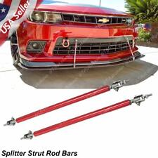 Adjustable Red Front Bumper Lip Splitter Strut Rod Tie Support Bars For Chevy