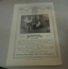 Rare 1838-1914 Schomaker Piano Advertisement