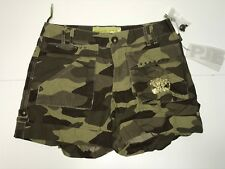PJE Edition Girls Teen New ARMY GOLD LOGO CAMOUFLAGE SHORTS  Sz: 16 RTL $65 Q715