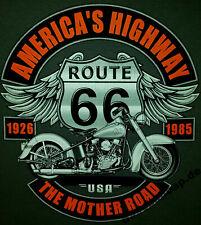 T-Shirt BIKER ROUTE 66 V8 USA KUSTOM 50s HOT ROD VINTAGE RETRO SKULL BONES 413