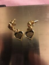 New 10k Yellow Gold Harley Davidson 3 Grams Heart Black Enamel Earrings
