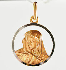 MADONNA MEDAL 9K 375 GOLD 2.24 GRAMS 16mm DIAMETER MADE BY UNO A ERRE ITALY NEW