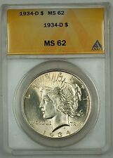 1934-D Silver Peace Dollar $1 ANACS MS-62 (Better Coin)
