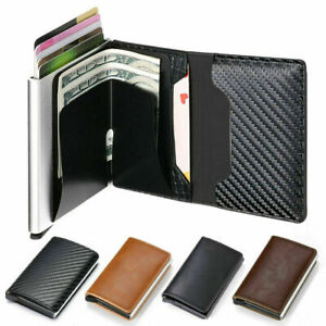Auto Credit Card Holder Mens Leather RFID Blocking Small Metal Men Wallet clip