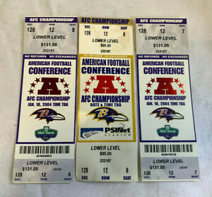 3 Ravens AFC Conference Championship Tickets Stubs Football Sports M&T Stadium