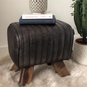 Leather Pommel Horse Style Footstool - Black