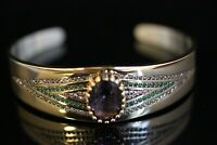 925 Sterling Silver Handmade Gemstone Turkish Quartz Bracelet Bangle Cuff