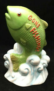 RUSS BERRIE GIMMIE A BREAK GONE FISHING CERAMIC BANK, 1 Pack Free Shipping