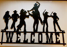 COWBOY COWGIRLS WELCOME WESTERN METAL WALL ART 27X14 IN. PLAQUE  NEW BAR DANCE