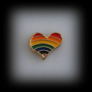 Rainbow Heart Gold Floating Charm