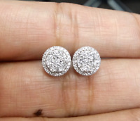 DEAL! 0.50CT NATURAL ROUND DIAMOND CLUSTER HALO STUD EARRING IN 14K GOLD 8MM