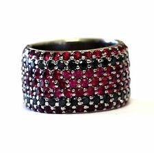 10k white gold ladies black diamond .76ct red stone ring 12.8g womens band