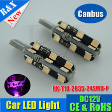 2x 24 SMD 2835 LED T10 Parker Wedge W5W 921 Light Bulb CANBUS Error Free Purple