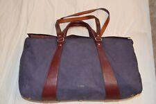 Paul Smith Blue Suede Brown Leather Large Zip Top Holdall Shoulder Weekend Bag