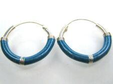 """Mens 925 Sterling Silver Hoop BLUE Earrings 1/2"""""""