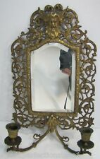 Antique 1800s Victorian Bronze Bachuus Bevel Edge Mirror dual candle lite ornate