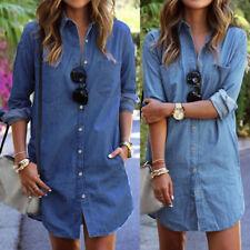 UK STOCK Womens Summer Lapel Denim Look Long Sleeve Casual Tops Shirt Mini Dress
