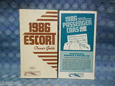 1986 Ford Escort Orig Owners Manual / Guide + Maintenance Schedule / Record Log