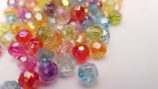 200 x 8mm Mixed Colour Round Acrylic Transparent Faceted AB Spacer Beads